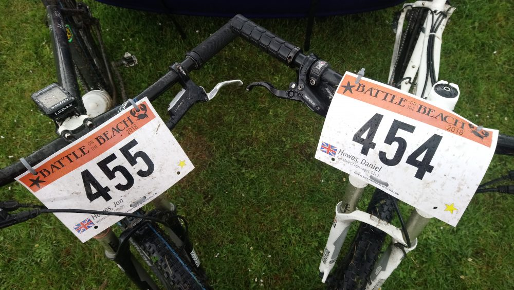 Team Cycle Training Wales' bikes are fitted with their race numbers the 2018 edition of Battle on the Beach
