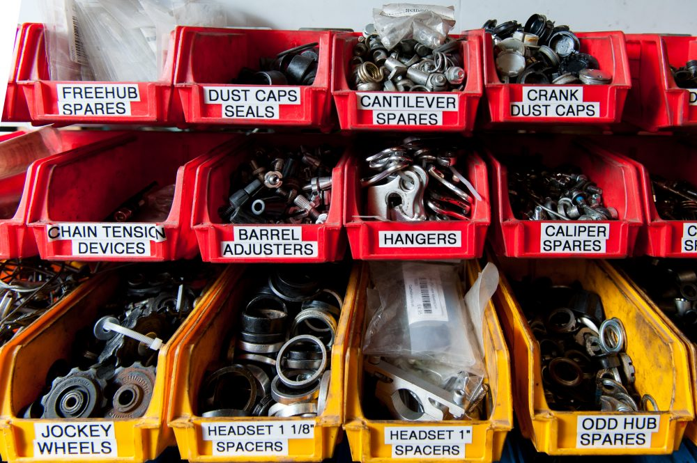 Reused and recycled bike parts.